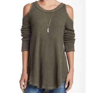 Free People Sunrise Cold Shoulder Sweater green